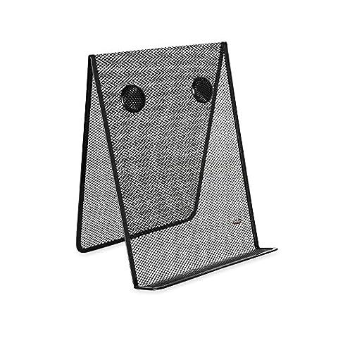 Nestable Wire Mesh Freestanding Desktop Copyholder, Stainless Steel, Black