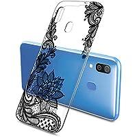 Suhctup Funda Compatible con Samsung Galaxy A20E,Carcasa Protectora de Silicona Transparente TPU Bumper con Floral Diseño,Ultra Fina Anti-Choques y Anti-Arañazos Resistente Case,Verde