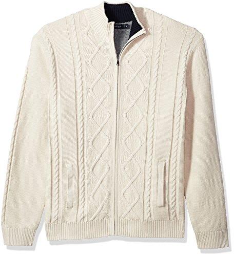 Nautica Men's 7 Gauge Full Zip Mock Neck Sweater Bone White Large