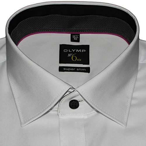 OLYMP Herrenhemd No6 six, super slim, weiß, extra langer Arm 69cm, Under Button-Down Weiß