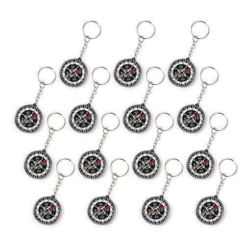 Wellgro 15er Set Kompass Schlüsselanhänger - Mitgebsel für Kindergeburtstag, je ca. 3,5 x 1,0 cm (ØxH), schwarz