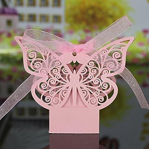Lot de 20pcs Boîte à Dragées Bonbonnière Motif de Papillon