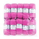 Gründl 3488–09classico, confezione risparmio 10gomitoli da 50G a mano Filati per maglieria, 50% lana vergine (Merino Superwash), 50% Poliacrilico, Fucsia, 30x 32x 8cm