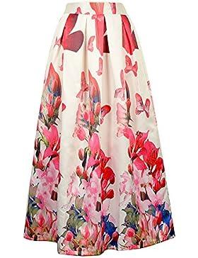 Mujeres Estampado Floral Fiesta Partido Maxi Largo Falda Plisada Skirt