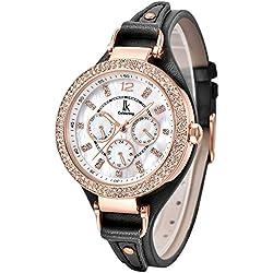 Alienwork Quartz Watch Multi-function Wristwatch nacre Rhinestone Leather white black K002GA-04