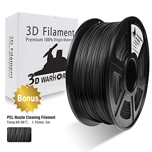 3D Filament, 3D Warhorse ABS 3D Printer Filament 1.75mm, 1KG Spool(2.2lbs),3D Printing Filament Dimensional Accuracy +/- 0.02mm-Bonus with 5M PCL Nozzle Cleaning Filament (Black)