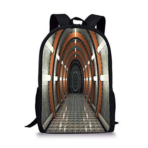 School Bags Outer Space Decor,Digital Orbital Station Room Artificial Satellite in Earth Navigation Center,Multi for Boys&Girls Mens Sport Daypack Digital Navigation System