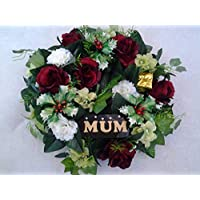 "Artificial Christmas Grave Wreath 14"" - Luxury Range - Includes MUM"