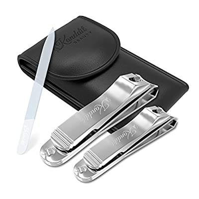 Kanddit Beauty Nail Clippers With Amazing Crystal Nail File | Etched Double Sided | 2 Pcs Nail Cutter Set Sharpest Stainless Steel Fingernail + Toenail Kit Perfect for Men & Women Great Gift Set