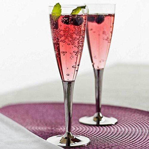 100 flûtes à Champagne plastique jetables Argent-Verres à pied vin pour mariage