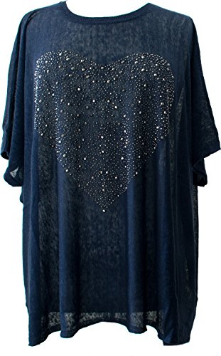 J S Millenium Oversized Shirt mit Strass/Nieten, Gesetzt in Herz Form Marine Blau Aus Hochwertiger Seide/Leinen Mischung (Marine-blau-damen T-shirt Strass)