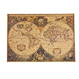 LIXIAQ1 Papier Kraft Rectangle Vintage Carte du Monde Globe Vieux Monde Carte Mat Brun Papier Affiche Rétro Navigation Ancienne Carte De Voile Mur Affiche Maison Mur Décor (71 x 50cm), Vieux...