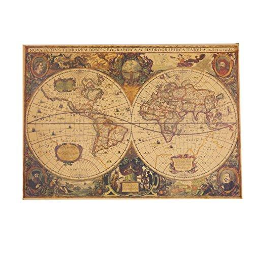 JOYfree Vintage Kompass Karte Dekoration Globus Alte Welt Karte Im Alter Matte Kraftpapier Rechteck Poster Historische Weltkarte Poster Home Wand-Dekor, Runde alt, Größe (Welt, Alte Dekoration)