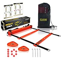 POWER GUIDANCE Agility Ladder (6 Metres) for Speed & Agility Trainning - with 12 Heavy Duty Plastic Rungs, Ground Stakes, Carry Bag & 10 Sports Cones