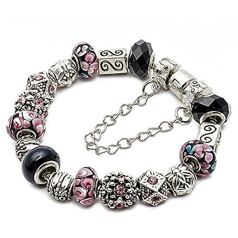RUBYCA Silver Tone European Charm Bracelet 8.3 Black & Pink Murano Glass Beads DIY Jewelry Kit 24 by RUBYCA