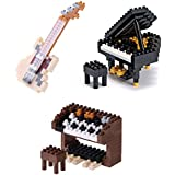 Kawada 3 Different Musical Instruments Nanoblock Sets Sold Together- Grand Piano, Organ And Ivory Electric