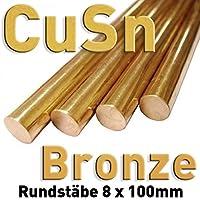 Bronce CuSn redonda ⌀ 8 x 100 mm, redonda de metal (Barra material muestras)