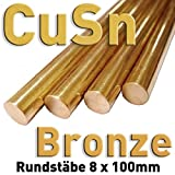 Bronze CuSn Rund Stab ⌀8 x 100 mm Metall Rundstange Materialprobe