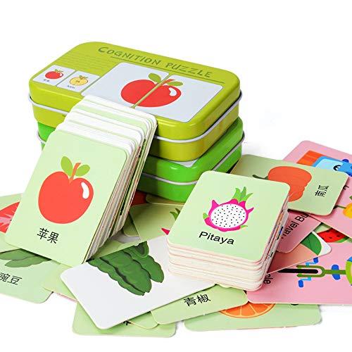 Amasawa 64 Stück Flash Cards Erkenntnis Puzzle Lernkarten Pädagogisches Spielzeug mit Eisen Aufbewahrungsbox für Kleinkinder Güter Matching Lernspiel (Digitale Tiere, Obst Gemüse)