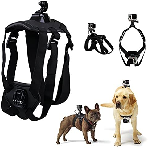 The Best Fetch-Imbracatura per cani, per GoPro Hero 3, Hero 3, 4, colore: argento, 2 SJ4000 SJ5000 SJ6000 XiaoYi HONGDAK Pet supporto Kit di accessori per fotocamera, sport