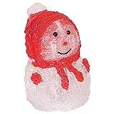 LED-Acryl-Schneemann 16x11cm Winterdeko Weihnachtsdeko Weihnachtsfigur Dekofigur, Farbe:rot