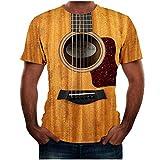 POPLY Herren Lustige Gitarre 3D-gedruckte T-Shirt Pullover Männermode Cool Summer Kurzarm Tees Freizeit Tops