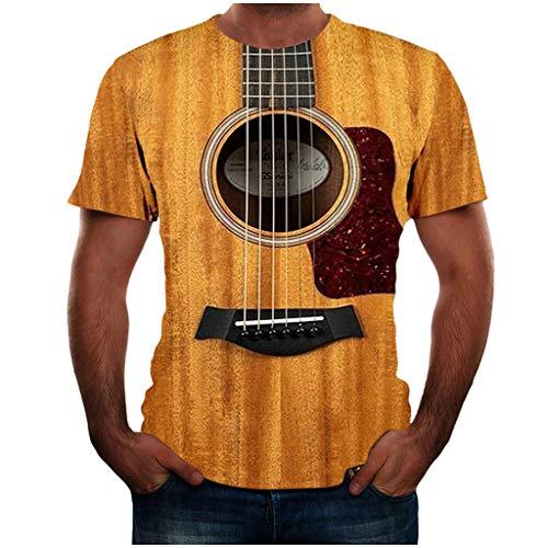 Binggong Kreative 3D Digitaldruck Gitarren T-Shirt, Herren Comfort Sommershirt Shirts Funny Party Wear Cool Tees Tops Große Größen T-Shirts S-6XL -