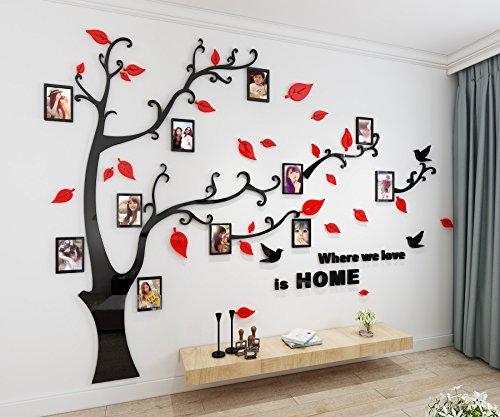 Alicemall adesivo da parete in acrilico rimovibile a forma di albero con rami incurvati e cornici porta foto rosse foglie