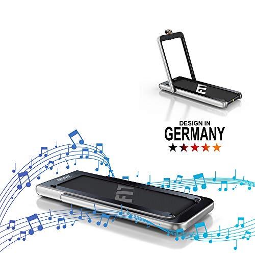 Fitifito ST100 Edles Laufband Profilaufband mit Touchscreen 1.0-12 km/h Bluetooth Fernbedienung komplett klappbar verstaubar mit Handyhalter Grau