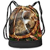 ewtretr Sacs à Cordon,Sac à Dos Pet Puppies Men Women Waterproof Drawstring...