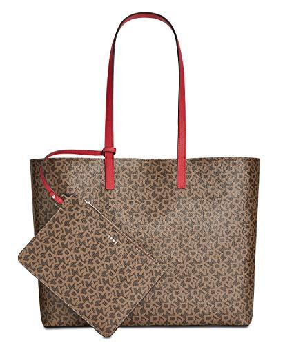 DKNY Brayden réversible sac logo moka Red Fabric