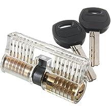 Cerradura de Cilindro YOEEKU Bloqueo de la Práctica Transparente Candados Ejercen Cilindro con 2 llaves para una Estable Principiantes Schlosser