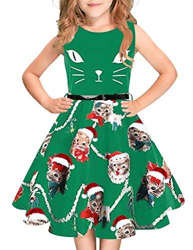 (Idgreatim Mädchen Weihnachten Aermellos Vintage Christmas Kleid Rockabilly Blumendruck Swing Party Kleider mit Gürtel für Mädchen)