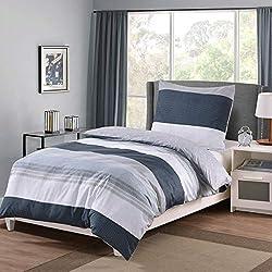 RUIKASI Bettwäsche Set 135 x 200 cm, 2 tlg. Wendebettwäsche Blau 100% Baumwolle, Bettbezug 135 x 200 cm mit Reißverschluss, Kissenbezug 80 x 80 cm (135 x 200 cm, Flüsse)
