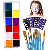Vegena Kinderschminke Set,Hochwertiges 12 Schminkfarben Face Paint mit 40 Malerschablonen,10 Pinsel Set,Wasserbasiert und Ungiftig,Geschenk für Kinder Partys & Halloween Etc