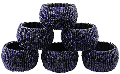 Set of 6,Handmade Indian Black and Blue Beaded Napkin Rings - Birthday, Christmas, Any Occasion Gift - 1.5