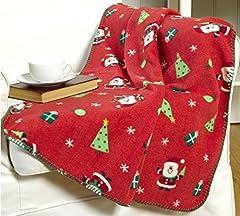 Idea Regalo - Coperta da Babbo Natale rossa in poliestere, circa 127x 152cm