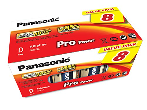 Panasonic LR20PPG/8BB Pro Power Alkaline Batterie, D - Mono - LR20, 8er Pack Gold