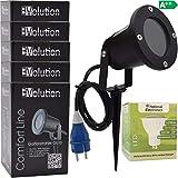 5x Evolution LED Strahler 3,5W mit Erdspieß mit Kabel und Stecker LED Gartenlampe 230V IP54 inkl. GU10 LED Gartenstrahler Strom Anschlußkabel stehend LED Außenleuchte für Steckdose