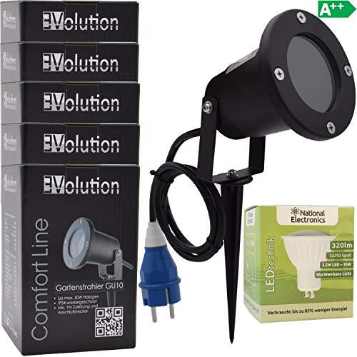 5x Evolution LED Strahler 3,5W mit Erdspieß mit Kabel und Stecker LED Garten-lampe 230V IP54 inkl. GU10 LED Gartenstrahler Strom Anschlußkabel stehend LED Außenleuchte für Steckdose