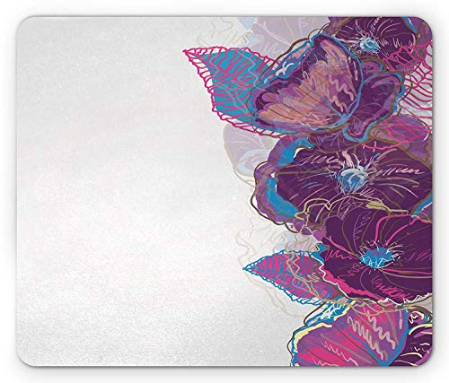 Floral Mouse Pad, Watercolor Drawing Style Artistic Flowers Leaves Butterfly Ornamental Border, Standard Size Rectangle Non-Slip Rubber Mousepad, Purple Pink Blue Leaf Border