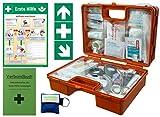 Erste-Hilfe-Koffer Quick -Komplettpaket- mitNotfallbeatmungshilfe für Betriebe DIN/EN 13157 + DIN 13164 - inkl. 1.Hilfe Aufkleber & Aushang