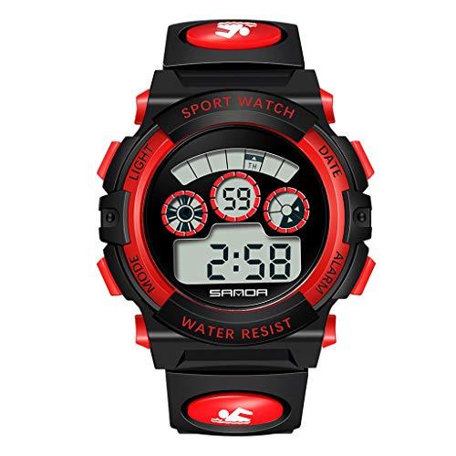 Feinny Sanda Multifunktionale Mode Student Elektronische Uhr, Partition Digitalanzeige, Mechanische Uhrwerk, Leuchtanzeige, 50m Limit wasserdichte Sportuhr (Unisex),Rot