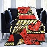 shang-shop Manta de Lana de vellón Mantas africanas de Tacones Altos Borde Cosido Mantas acogedoras Alfombra térmica térmica portátil para sofá Cama