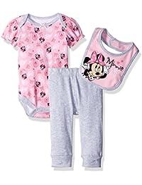 Disney Baby Girls 3 Pack Minnie Mouse Bodysuit