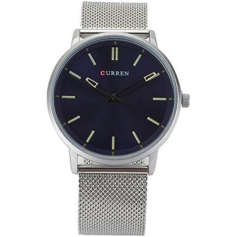 Hrph La nueva manera impermeable gran línea de relojes de la correa de malla de gama alta del negocio del cuarzo del reloj de los hombres