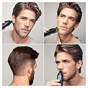 Braun 6-in-1 All-in-one Trimmer MGK3021, Beard Trimmer and Hair Clipper, Ear and Nose Trimmer, Lifetime Sharp Blades, Black/Volt Green