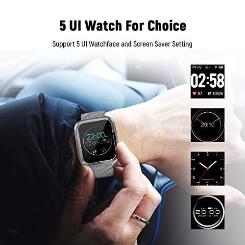 Imagen de catshin smartwatch android/ios con pulsómetro,cs08 pulsera actividad reloj deportivo inteligente con impermeable ip68 cronómetro,monitor de sueño,podómetro,notificación de mensajes por mujer alternativa
