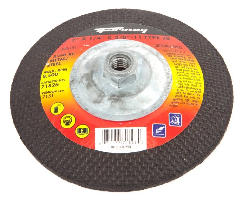 Forney 71826 Grinding Wheel with 5/8-Inch-11 Threaded Arbor, Metal Type 28, A24R-BF, 7-Inch-by-1/4-Inch by Forney -