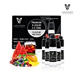 VAPOURSSON 5 X 10ml E Liquid Flavour Pack | Peach Mango | Bubble Gum | Cola | Berry Mix | Watermelon | New Super Grade Formula To Create A Super Strong Flavour with Only High Grade Ingredients | VG & PG Mix | Made For Electronic Cigarette and E Shisha